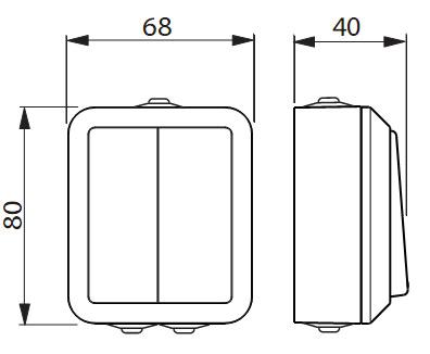 1065SW ABB Выключатель 2-клавишный, 1-полюсный, 16А/230В (схема 2), серия Jussi, белый, поверхностный монтаж, IP44.