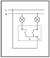 Схема 5. Выключатель двухклавишный Внимание.  Все работы по инсталляции выключателей производите при отключенном...